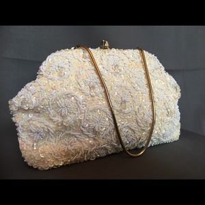 Vintage beaded and Beaded Ivory Evening Bag